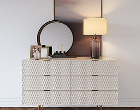 3D model Westelm Audrey dresser with Zara Home decor set
