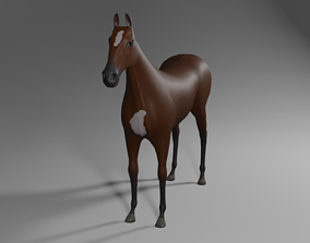 3D asset VR / AR ready Horse game model without hairs