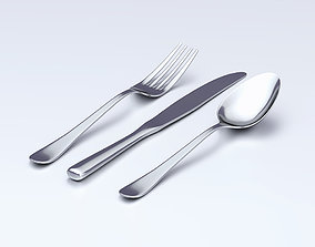 Table Dinner Knife Fork and Spoon Classic Cutlery 3D model