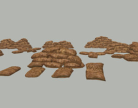 3D asset Lowpoly Sandbag kit