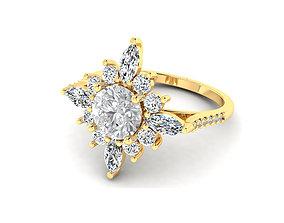 3DM Art deco sunflower wedding ring
