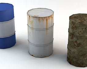 Rusty Used and New Low Poly Barrels Game Ready 3D asset