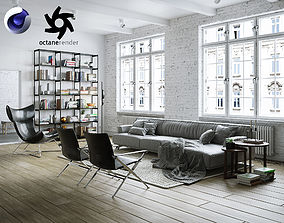 Living Room Interior Scene for Cinema 4D and 3D model 1