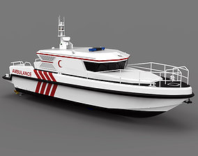 Complated Ambulance Boat 3D