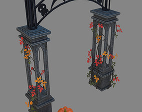 3D asset entrance to the cemetery scary halloween