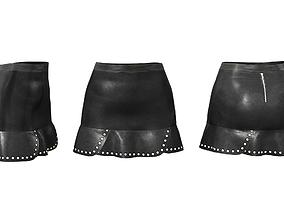 Flapped Skirt With Rivet Ruffles 3D model