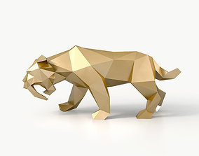 3D model Low Poly Saber Toothed Tiger