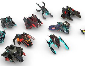 3D asset Space fighter collection - PBR Game-Ready