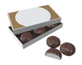 Blank package with marshmallow in chocolate mock 3D model