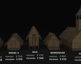 3D model Medieval Village 5 piece Pack 2x House 2