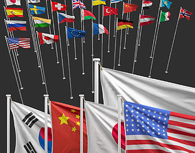 3D Flags of the world cloth