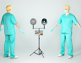 3D model Surgical doctor in A-pose ready for rigging 51