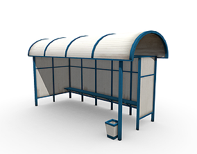 3D asset realtime lowpoly Bus stop