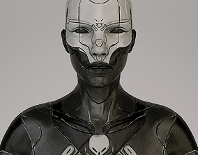 scifi woman Low-poly 3D model rigged