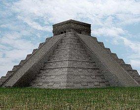 3D asset VR / AR ready Mayan Temple - El Castillo