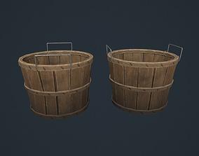 Bushel Basket - Wooden Basket - Fruit Basket 3D model