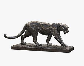 3D model Walking Leopard Bronze Sculpture
