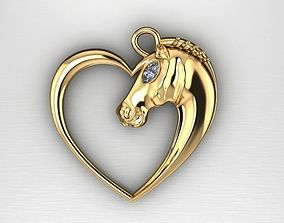 3D printable model horse pendant