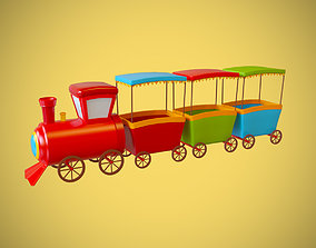 children train cartoon lowpoly toy happy 3D model
