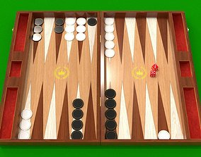 game-ready Backgammon low and high poly 3d model