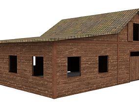 3D model low-poly Western Barn