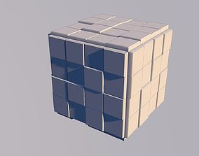 Sci Fi Cube Square Shape Triangle Low-poly 3D model