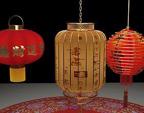 lighting 3D Chinese red lantern