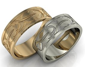 Engagement rings with leaves 3D print model