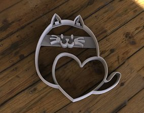 3D printable model Cat with Heart Cookie Cutter