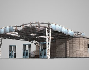 Dilapidated old gas station building 3D model