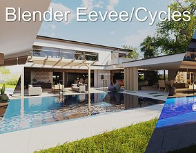 3D asset Modern villa 2021 Blender Eevee and Cycles