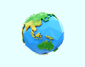 3D asset game-ready Low Poly Earth