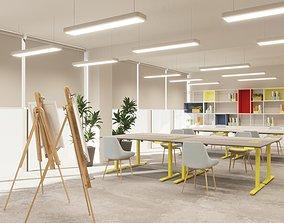 Art classroom with standing desk interior 3D model