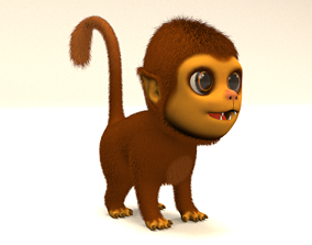 ape 3D model animated cartoon monkey