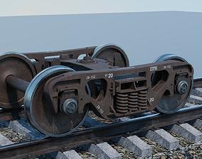 3D model animated Railway freight bogie
