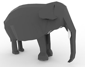 3D model low-poly low poly elephant