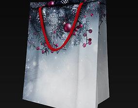 Christmas gift bag model 3D asset