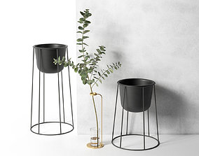3D Stem Vase with Eucalyptus and Wire Pots