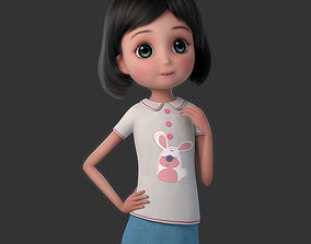 Cartoon Girl Rigged character 3D
