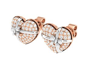 Women Heart Earrings 3dm stl render detail diamond