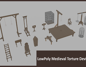 Lowpoly Medieval Torture Devices 3D asset VR / AR ready