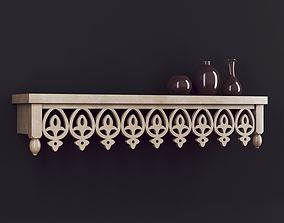 3D model Wooden Shelf 01