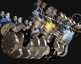 Engine V8 animated rigged 3D model