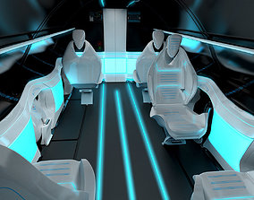 3D Business class interior of the passenger area of the