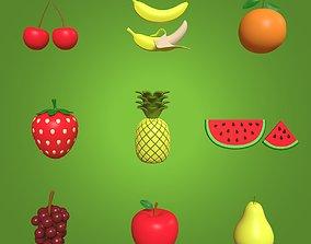 3D asset Cartoon Fruits Collection