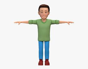 Cartoon Boy Noah 3D Model Character no Rig game-ready 3