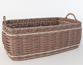 wicker basket with handles 3D