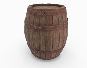 Old wooden barrel 3D asset