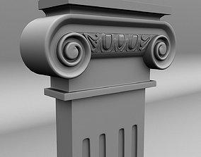 Scroll Flat Column 3D asset low-poly