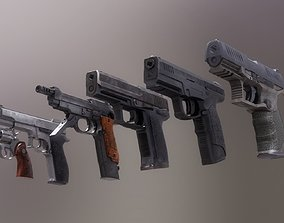 3D model Pistol Set 2 Rigged PBR